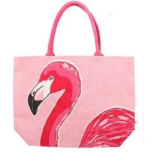 Handbags - Hot Pink Flamingo Jute Tote Bag